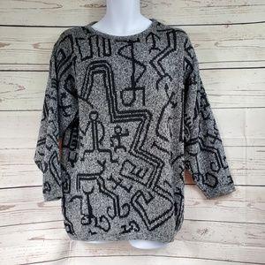 VINTAGE DESIGN aztec pattern pullover sweater L